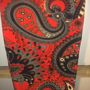 LuLaRoe Floral Paisley Brick Red Gray OS Leggings